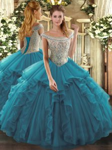 Cute Floor Length Teal Quinceanera Gown Tulle Sleeveless Beading and Ruffles