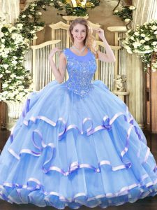 Affordable Organza Scoop Sleeveless Zipper Beading and Ruffled Layers 15th Birthday Dress in Baby Blue
