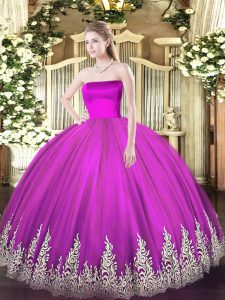 Low Price Fuchsia Tulle Zipper Sweet 16 Quinceanera Dress Sleeveless Floor Length Appliques
