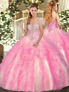 Floor Length Rose Pink 15th Birthday Dress Tulle Sleeveless Appliques and Ruffles