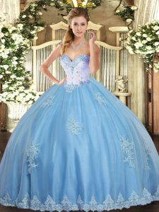 Glittering Aqua Blue Ball Gowns Beading and Appliques Sweet 16 Dresses Lace Up Tulle Sleeveless Floor Length