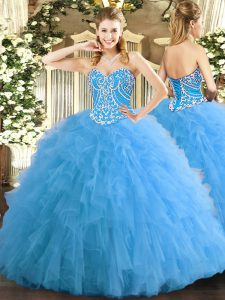 Tulle Sweetheart Sleeveless Lace Up Beading and Ruffles Quinceanera Gown in Aqua Blue