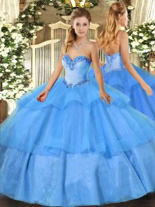 Sweetheart Sleeveless Vestidos de Quinceanera Floor Length Beading and Ruffled Layers Baby Blue Tulle