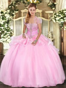 Fancy Strapless Sleeveless Quinceanera Dresses Floor Length Appliques Baby Pink Organza