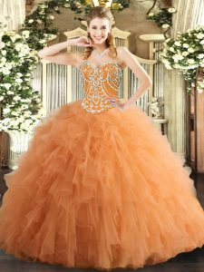Floor Length Orange Quinceanera Gowns Tulle Sleeveless Beading and Ruffles