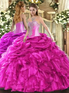 Romantic Sleeveless Lace Up Floor Length Beading and Ruffles and Pick Ups Quinceanera Gown