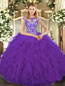 Suitable Scoop Cap Sleeves 15th Birthday Dress Floor Length Beading and Ruffles Eggplant Purple Organza
