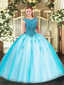 High End Scoop Cap Sleeves Tulle Ball Gown Prom Dress Beading and Appliques Zipper