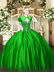 Wonderful Green Ball Gowns Beading Sweet 16 Quinceanera Dress Lace Up Satin Sleeveless Floor Length