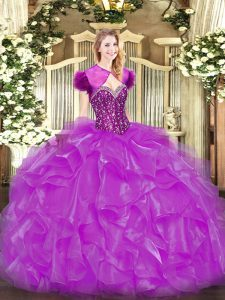 Hot Sale Sweetheart Sleeveless Lace Up Quince Ball Gowns Fuchsia Organza