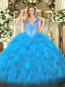 Baby Blue Organza Lace Up V-neck Sleeveless Floor Length Quinceanera Dresses Beading and Ruffles