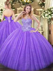 Appliques Sweet 16 Quinceanera Dress Lavender Lace Up Sleeveless Floor Length