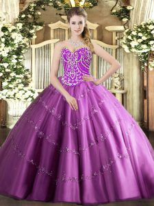 Cute Sleeveless Lace Up Floor Length Beading and Appliques Quinceanera Gown