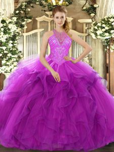 High End High-neck Sleeveless Lace Up Quince Ball Gowns Fuchsia Organza