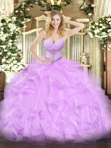 Beautiful Sleeveless Organza Floor Length Lace Up Quinceanera Gowns in Lavender with Beading and Ruffles