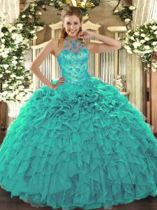 Organza Sleeveless Floor Length Ball Gown Prom Dress and Beading and Embroidery and Ruffles