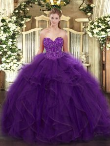 Purple Organza Lace Up Quinceanera Dresses Sleeveless Floor Length Ruffles