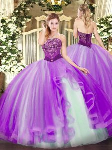 Lavender Lace Up Strapless Beading and Ruffles Quinceanera Gown Tulle Sleeveless
