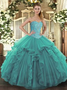 Glittering Sleeveless Tulle Floor Length Lace Up Quince Ball Gowns in Turquoise with Beading and Ruffles