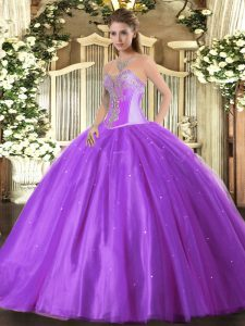 Smart Floor Length Ball Gowns Sleeveless Lavender Sweet 16 Dress Lace Up