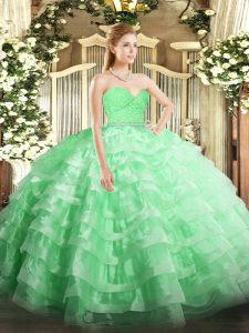Sexy Apple Green Sweet 16 Dresses Military Ball and Sweet 16 and Quinceanera with Beading and Lace and Ruffled Layers Sweetheart Sleeveless Zipper