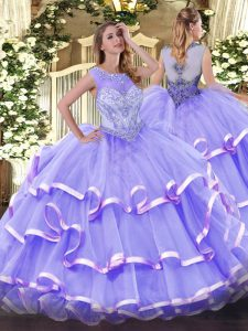 Shining Lavender Ball Gowns Organza Scoop Sleeveless Beading and Ruffled Layers Floor Length Zipper Quince Ball Gowns