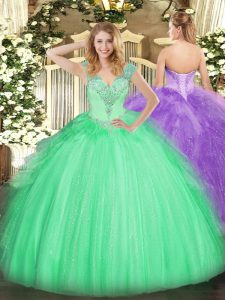 Hot Selling Apple Green Sleeveless Beading Floor Length 15 Quinceanera Dress