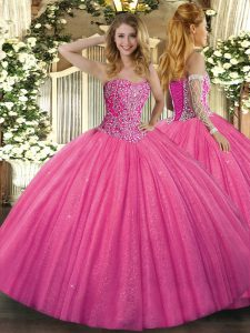 Floor Length Hot Pink 15th Birthday Dress Tulle Sleeveless Beading