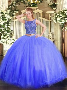 Dynamic Scoop Sleeveless Sweet 16 Quinceanera Dress Floor Length Beading Blue Tulle