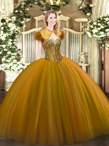 Colorful Brown 15th Birthday Dress Military Ball and Sweet 16 and Quinceanera with Beading Sweetheart Sleeveless Lace Up