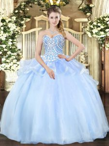 Glamorous Organza Sweetheart Sleeveless Lace Up Beading Vestidos de Quinceanera in Light Blue