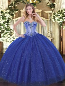 On Sale Sleeveless Beading Lace Up Sweet 16 Dresses with Royal Blue