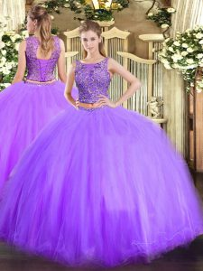 Lavender Lace Up Sweet 16 Dress Beading Sleeveless Floor Length