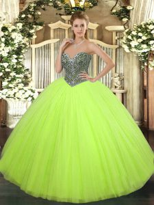 Dramatic Sweetheart Sleeveless Tulle Ball Gown Prom Dress Beading Lace Up