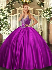Straps Sleeveless Satin 15 Quinceanera Dress Beading Lace Up