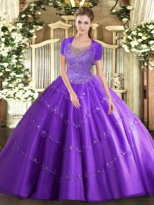 Vintage Sleeveless Floor Length Beading and Appliques Clasp Handle 15th Birthday Dress with Lavender