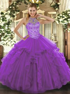 Organza Halter Top Sleeveless Lace Up Beading and Embroidery Sweet 16 Quinceanera Dress in Purple