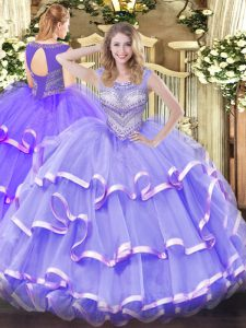 Designer Floor Length Ball Gowns Sleeveless Lavender 15 Quinceanera Dress Lace Up