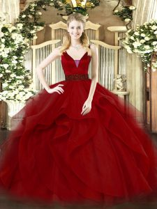 Amazing Ball Gowns Vestidos de Quinceanera Wine Red Straps Tulle Sleeveless Floor Length Zipper