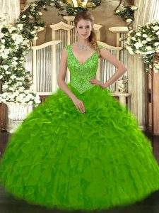 Green Zipper V-neck Beading and Ruffles Sweet 16 Quinceanera Dress Organza Sleeveless