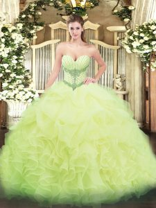 Decent Yellow Green Organza Lace Up 15th Birthday Dress Sleeveless Floor Length Beading and Ruffles and Pick Ups