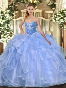 Nice Floor Length Blue Ball Gown Prom Dress Organza Sleeveless Beading and Ruffles