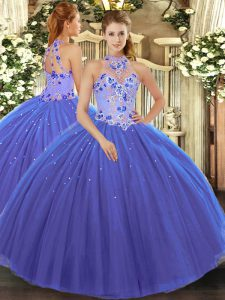 Blue Tulle Lace Up Quinceanera Dress Sleeveless Floor Length Embroidery