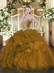 Brown Sleeveless Organza Lace Up Vestidos de Quinceanera for Military Ball and Sweet 16 and Quinceanera