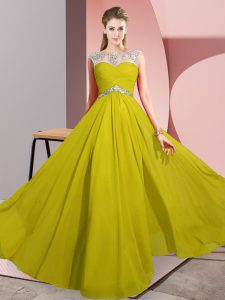 Unique Yellow Scoop Clasp Handle Beading Homecoming Dress Sleeveless