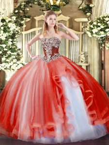 Strapless Sleeveless Tulle 15 Quinceanera Dress Beading and Ruffles Lace Up