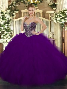 Dark Purple Tulle Lace Up Sweetheart Sleeveless Floor Length Quince Ball Gowns Beading and Ruffles