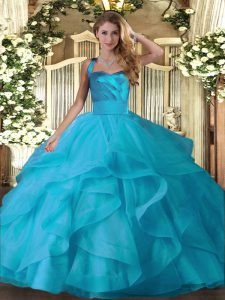 Baby Blue Ball Gowns Ruffles 15th Birthday Dress Lace Up Tulle Sleeveless Floor Length