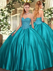 Fitting Floor Length Teal 15 Quinceanera Dress Satin Sleeveless Beading