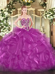 Excellent Fuchsia Ball Gowns Beading and Ruffles Quinceanera Dresses Lace Up Organza Sleeveless Floor Length